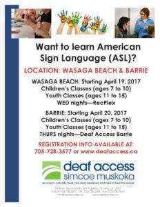 Spring 2017 Child.Youth ASL flyer